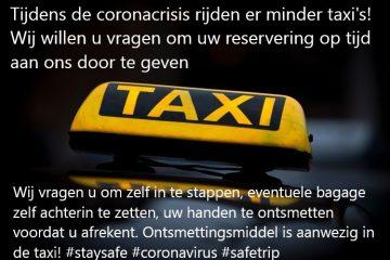 minder taxi's beschikbaar tijdens coronacrisis